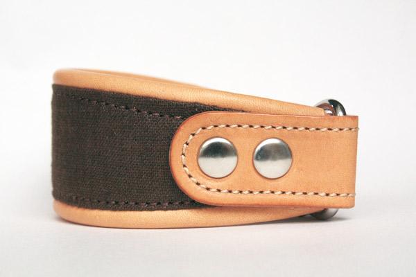 画像2: リネンと革のハーフチョーク (ダークブロンズ×ヌメ)