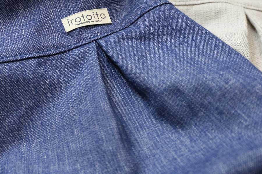 画像5: 綿麻ツイルのタックシャツ(紺瑠璃)